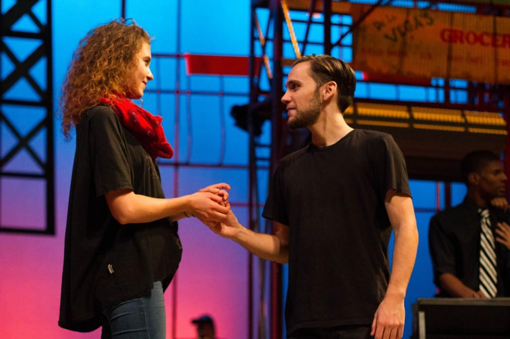 From left, Lucy Blehar and Wesley Toledo share a moment onstage together. (Grant Myatt / The DePaulia)