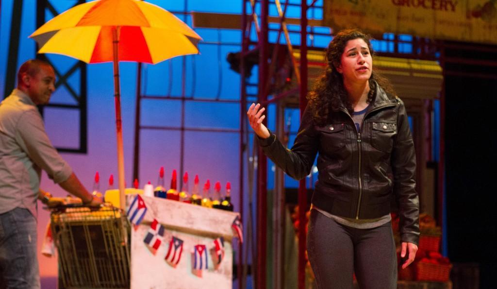 "Krystal Ortiz, as Nina in ""In The Heights"" performs the song ""Breathe"" while in rehearsal. (Grant Myatt / The DePaulia)"