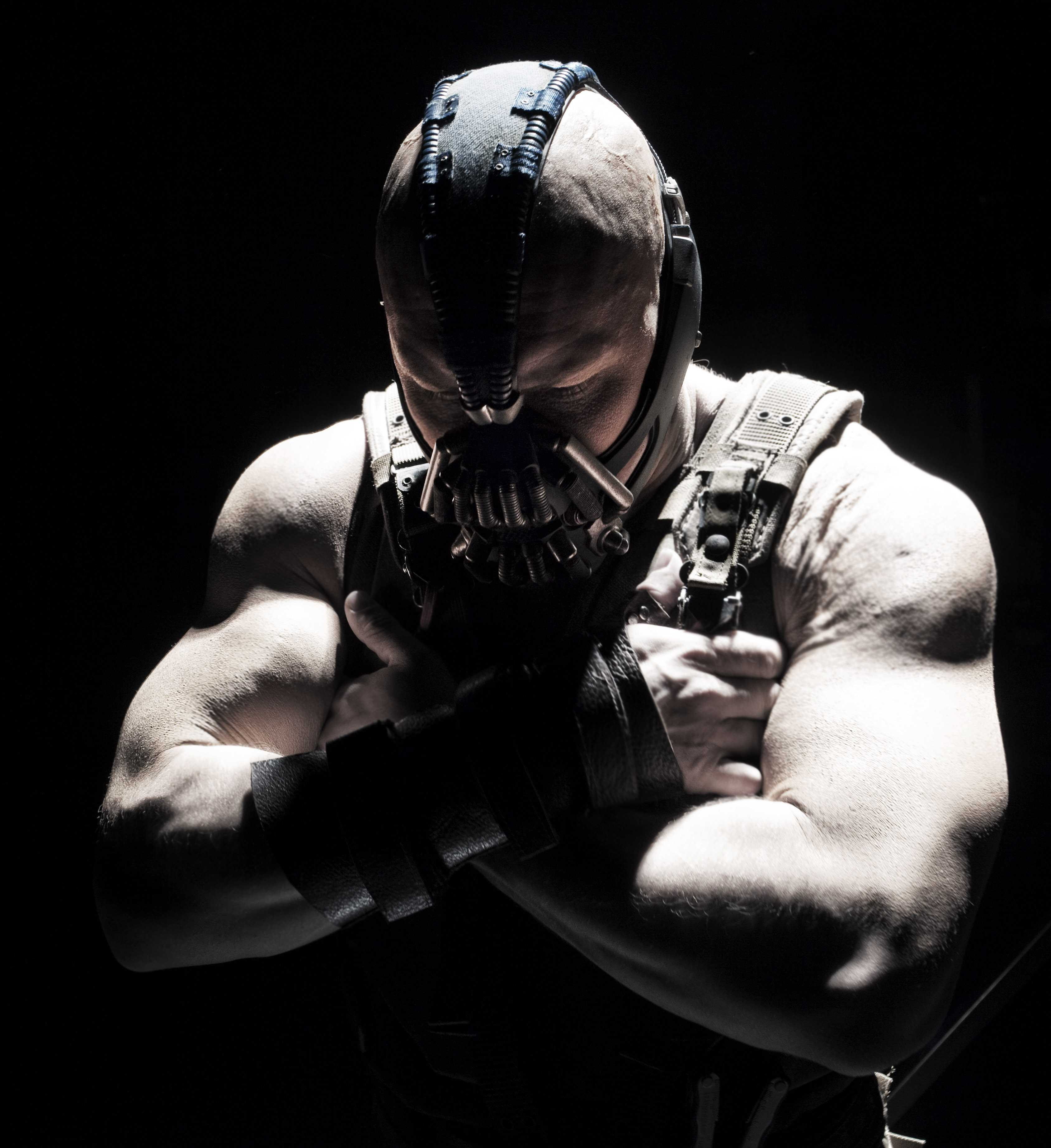 """Tom Hardy as Bane in the 2012 film """"The Dark Knight Rises."""" In an interview with Men's Journal, Hardy made a veiled reference to using PEDs to bulk up for the role. Photo courtesy of Protozoa Pictures."""