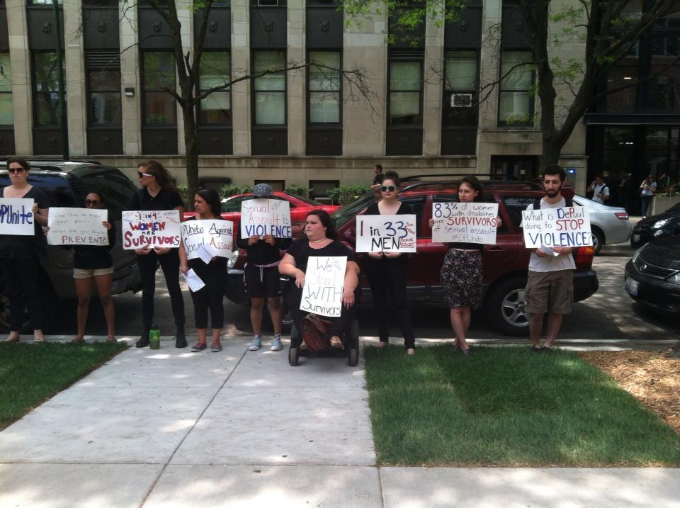 DPUnite staged a silent protest along Kenmore Avenue. Photo by Brenden Moore.