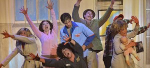 """Broadway in Chicago's """"Evil Dead the Musical is a bloody, kooky, and campy comedy. (Photo courtesy of Peter Coombs)"""