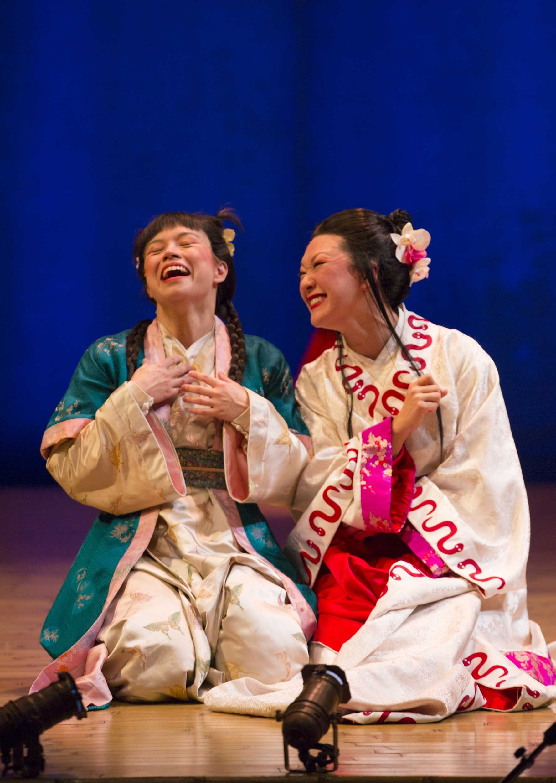 "From left, Tanya Thai McBride and Amy Kim Waschke in ""The White Snake"" at Goodman Theatre. Photo courtesy of T. CHARLES ERICKSON/Goodman Theatre"