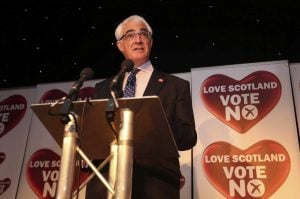 Alistair Darling, leader of the No Campaign to preserve Scottish-English unity, speaks at a press conference after the announcement of the referendum's results Sept. 19. Lynn Cameron/AP