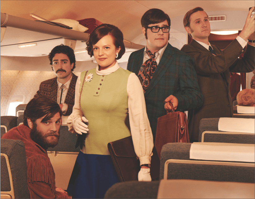 "Part of the cast of AMC's ""Mad Men,"" including Elisabeth Moss (center), who plays rising advertising executive Peggy Olsen."