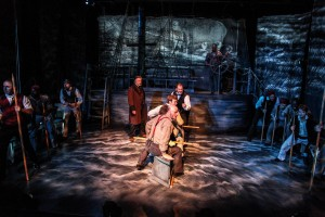 """The cast of Shattered Globe Theatre's Midwest premiere of """"The Whaleship Essex"""" by founding ensemble member Joe Forbrich, directed by Lou Contey. (Photo courtesy of Emily Schwartz)"""