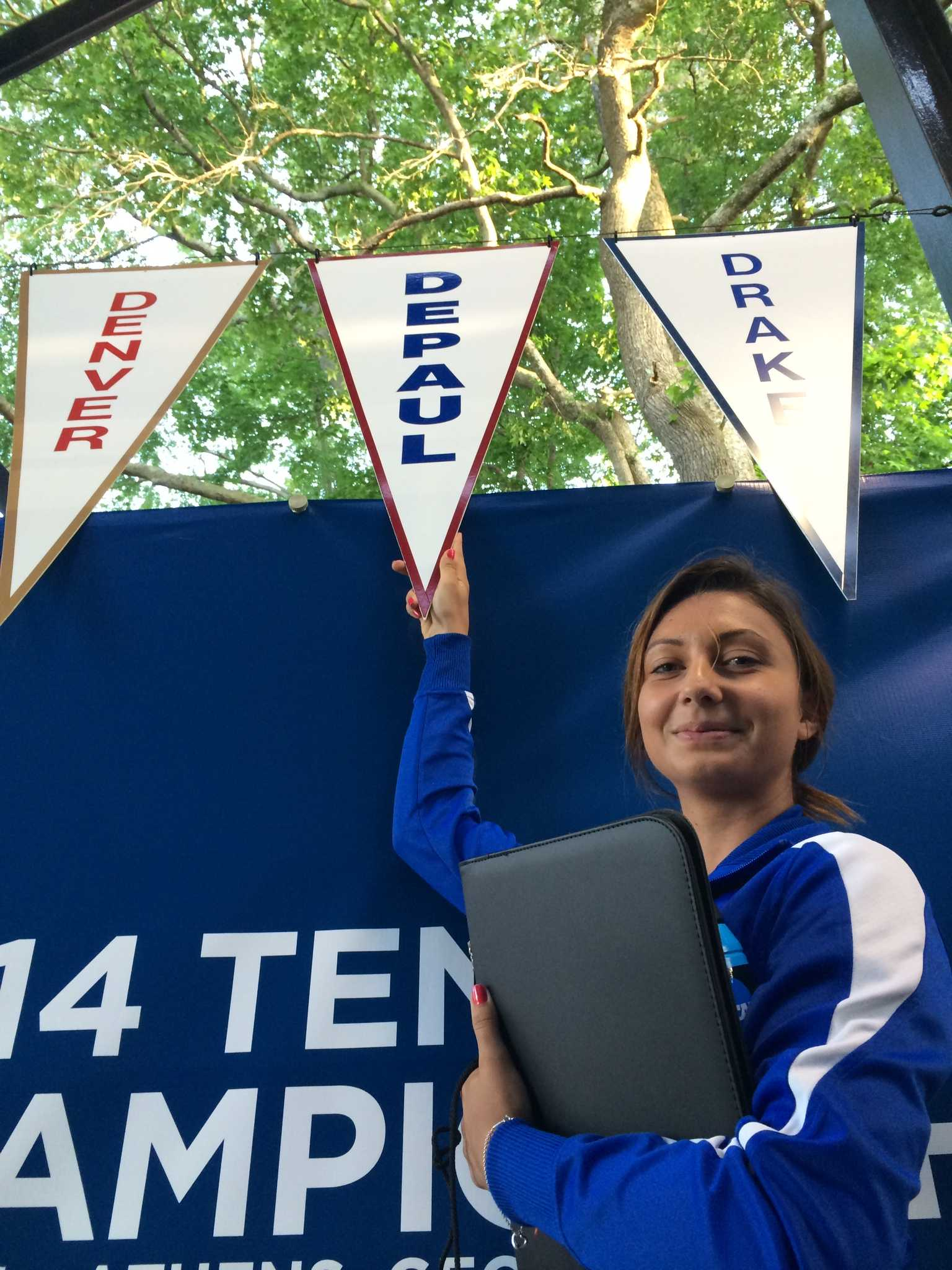 Ana Vladutu poses at the NCAA tournament. She was the first women in DePaul tennis history to make the tournament. Photo courtesy of DePaul Athletics.
