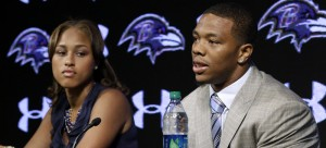 Ray Rice (right) was cut from the Baltimore Ravens after a video surfaced from TMZ  of him knocking out his then-fiancee Janay Palmer (left). (Patrick Semansky / AP)