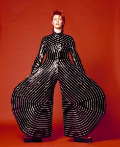 Striped boysuit for Aladdin San tour, 1973. Design: Kansai Yamamoto. Photo: Masayoshi Sukita. Sukita / The David Bowie Archive 2012.