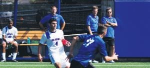 DePaul defender Koray Yesilli left the 2-1 double overtime loss against UIC with an injury, limping off to the sidelines. The extent of his injury is unclear. (Maggie Gallagher / The DePaulia)