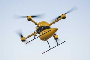 DHL drones in Germany on Sept. 24 are starting Germany's first-ever drone package delivery service, a test program transporting medication to a pharmacy on a difficult to access North Sea island. Photo courtesy of Nikolai Wolff Fotoetage | AP
