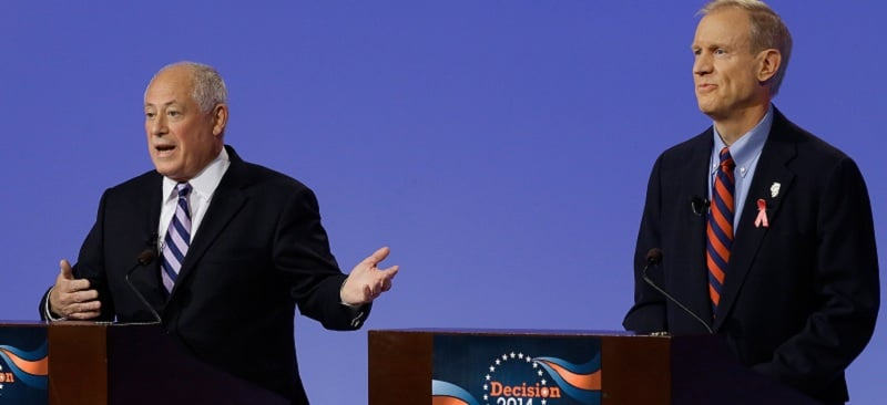 Democratic Gov. Pat Quinn, left, answers questions while debating Republican gubernatorial candidate businessman Bruce Rauner, right, Thursday, Oct. 9, 2014, in Peoria Ill. (AP Photo/Seth Perlman)