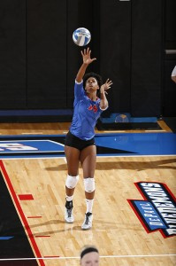 Sophomore Randi Leath serves a ball against an opponent at McGrath-Phillips Arena. (Photo courtesy of DePaul Athletics)
