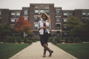 DePaul student Tanya Manasyan shows off a fall look that is both fashionable and functional. Sweaters in warm, neutral colors paired with boots make for a simple and chic outfit. (Josh Leff / The DePaulia)