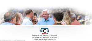 A publicity shot used on the website of Tom Corbett (center, blue shirt), Pennsylvania's incumbent governor running for re-election. It has been found that the African-American woman (middle, immediately left of Corbett) was photo edited into the image. (www.TomCorbettForGovernor.com)