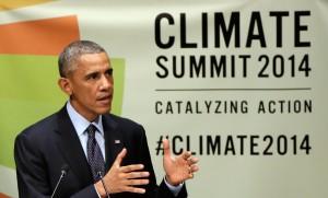 President Barack Obama addresses the Climate Summit at U.N. headquarters Sept. 23. Photo courtesy of Richard Drew   AP