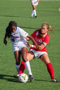 Defender Brianna Ryce has split her time between DePaul and the Trinidad and Tobago National Team. (Grant Myatt / The DePaulia)