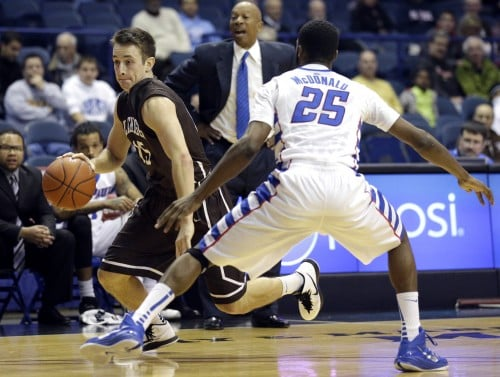 Lehigh guard Corey Schaefer drives against DePaul guard Durrell McDonald during a Nov. 26 game at Allstate Arena. (AP Photo/Nam Y. Huh)