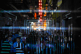 Luftwerk's water and light artwork in an ACTIVATE alley this September.  (Photo courtesy of MARCO MORELLI)