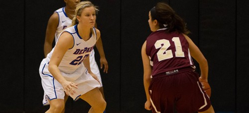 DePaul redshirt sophomore Brooke Schulte (left) has worked her way into the team's rotation. (Grant Myatt / The DePaulia)
