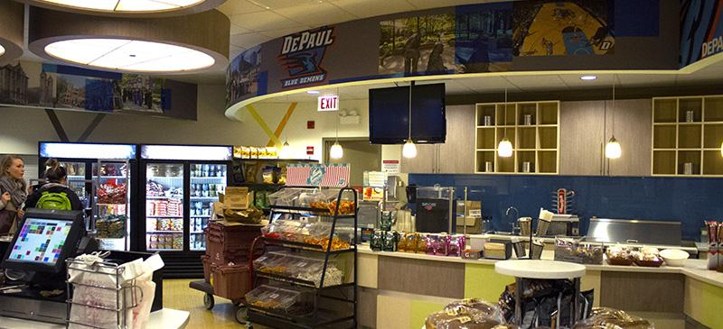 The grocery store, ETC, in the DePaul Student Center has a new look, featuring DePaul artwork and a new layout. Snack options cater to students' sweet tooth and healthy cravings. (Megan Deppen / The DePaulia)