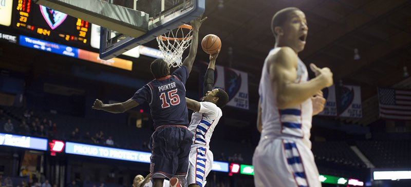 A 64-60 win over No. 24 Seton Hall was DePaul men's basketball's first win over a nationally-ranked team since 2008.  (Josh Leff / The DePaulia)