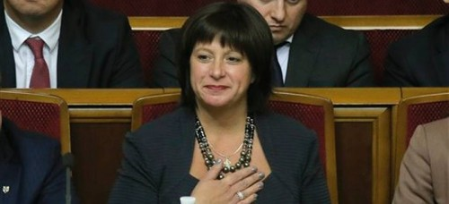 DePaul Alumna Natalie Jaresko takes her place on the Ministers' stand after being confirmed as Ukraine's Minister of Finance. (Efram Lukatsky | AP)