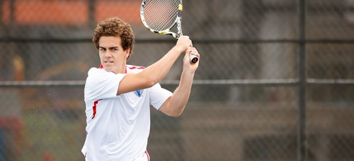Juniors Sten Leusink (above) and Kyle Johnson are ranked 56 in the ITA doubles rankings, and carry high expectations for the season with it. (Photo courtesy of DePaul Athletics)
