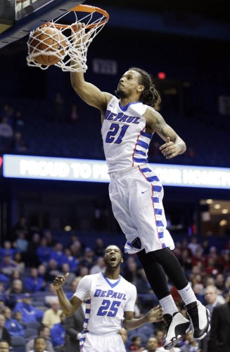 DePaul forward Jamee Crockett (21) dunks against Stanford during the second half of an NCAA college basketball game on Saturday, Nov. 30, 2014, in Rosemont, Ill. DePaul won 87-72. (AP Photo/Nam Y. Huh)