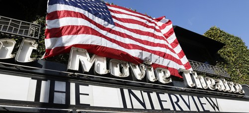 """A movie theater in Los Angeles showcases """"The Interview,"""" a film criticizing North Korea that was subject to international scrutiny. (Richard Vogel 