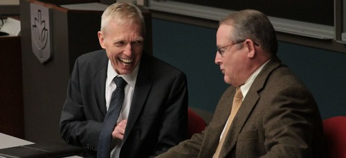 Martin denBoer, left, smiles during a lighter moment of his campus visit last week. He is the first of four finalists for the provost position to visit.  He is currently the provost at Cal Poly Pomona. (Megan Deppen / The DePaulia)