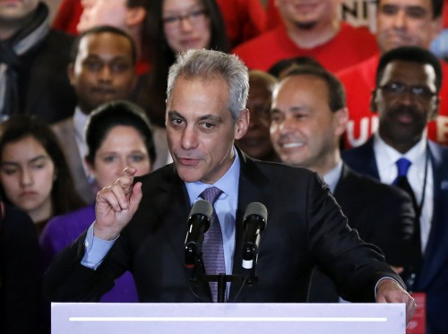 """Chicago Mayor Rahm Emanuel talks to supporters Tuesday night after he failed to capture a majority of the vote forcing him into a runoff this spring against Cook County Commissioner Jesus """"Chuy"""" Garcia. (AP Photo/Charles Rex Arbogast)"""