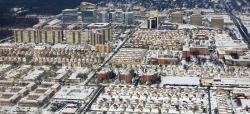 An aerial view of Chicago taken on Feb. 3 after multiple snowfalls. (Kiichiro Sato   AP)