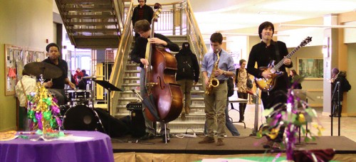 The Catholic Student Union and the Student Government Association hired students from DePaul's Music School to play jazz classics at the Mardi Gras celebration in the student center. (Megan Deppen / The DePaulia)