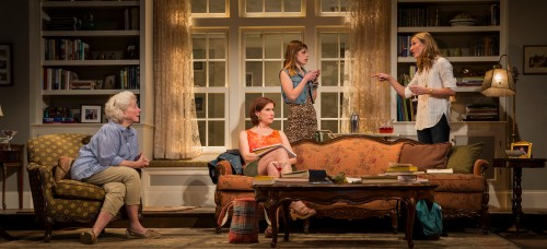 "Mary Ann Thebus, Karen Janes Woditsch, Cassidy Slaughter-Mason and Jennifer Coombs in Gina Gionfriddo's ""Rapture, Blister, Burn,"" directed by Kimberly Senior. (Photo courtesy of Goodman Theatre)"