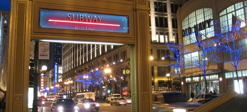 An entrance to the Red Line at Monroe Street in the Loop. Those who use the Red Line and Blue Line subways will soon have the benefit of 4G coverage as part of a $32.5 million plan. (Photo courtesy of JDeeringDavis | Flickr)