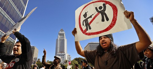 Protestors chant during their march on March 3 from the downtown Los Angeles site where a homeless man was killed by officers. (Al Seib | Tribune News Service)