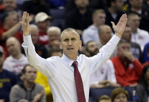 Buffalo head coach Bobby Hurley reacts to a call in the second half of an NCAA tournament college basketball game against West Virginia in the Round of 64 in Columbus, Ohio, Friday, March 20, 2015. (AP Photo/Tony Dejak)