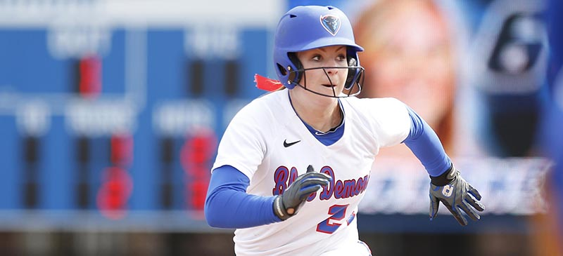 Sophomore outfielder Dylan Christensen rounds the bases in a Spring 2014 softball game at Wish Field at Cacciatore Stadium. (Photo courtesy of DePaul Athletics)
