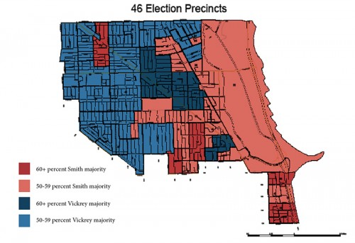 The geography of the 43rd Ward's election results reflect the divisive nature and closeness of the race between Ald. Michele Smith and challenger Caroline Vickrey.