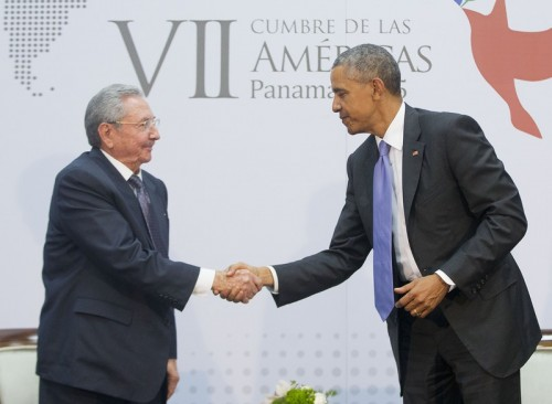 Cuban President Raul Castro and U.S. President Barack Obama concluded a series of historic negotiations between the two nations, April 11. (AP Photo/Pablo Martinez Monsivais)