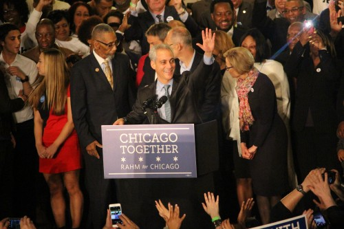 Mayor Rahm Emanuel thanks his crowd of supporters at Plumber's Union Hall in Chicago Tueesday after it was announced he was re-elected for a second term. (Danielle Harris |The DePaulia)
