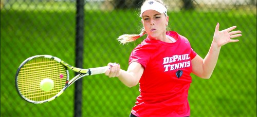 Patricia Lancranjan, with a 20-12 record, has made a strong singles showing in her freshman campaign. (Courtesy of DePaul Athletics)
