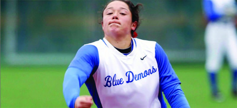 Freshman pitcher Megan Leyva has been the No. 2 starter for the Blue Demons, stepping in behind senior Mary Connolly in the pitching rotation. (Courtesy of DePaul Athletics)