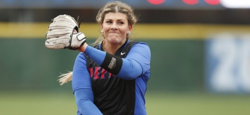 DePaul senior Mary Connolly pitched both games of a doubleheader against Creighton Saturday, losing both games 2-0 and 5-3. (Photo courtesy of DePaul Athletics)