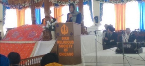 Cook County State's Attorney Anita Alvarez paid a visit to the Palatine Gurudwara speak about the rise in hate crimes against the Sikhs. (Gurnik Singh / The DePaulia)