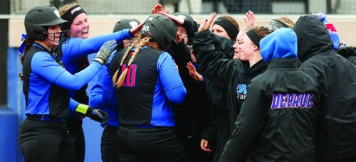 DePaul softball opened up the Big East season with a series sweep of Seton Hall on the road, followed by a two-game series win over Providence. (Courtesy of DePaul Athletics)