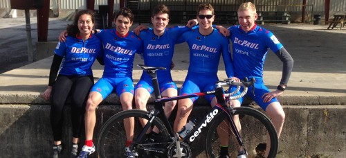DePaul Cycling Club after the team time trial at Lindsey Wilson College in Kentucky. From left to right: Tori Parrilli, Adam Saban, Anthony Ott, Ian Kresnak, Chris Haslam. Not pictured Mark Zalewski. (Photo courtesy of Ian Kresnak)