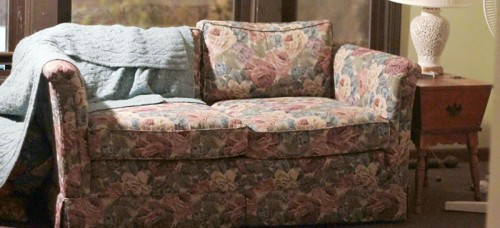 This Floral Patterned Couch Gifted From A Generous Grandma Complements Any  Recycled Home Decor.