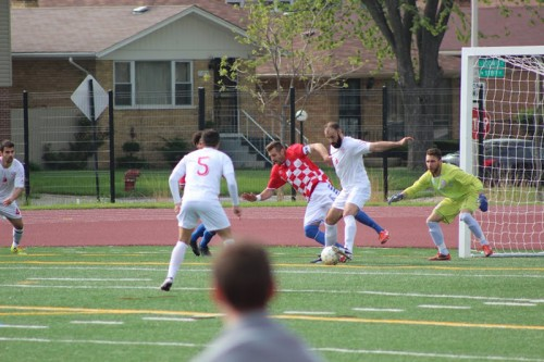 Former DePaul player Antonio Aguilar (right) defends against a Croatian Eagles player on  May 10.  (Photo courtesy of RWB Adria)