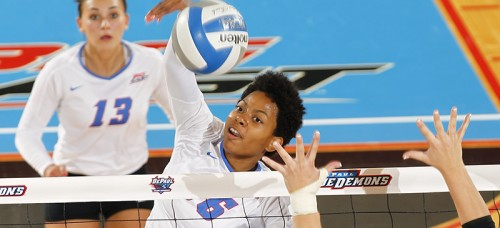 Redshirt sophomore Randi Leath started 21 matches out of 25 for DePaul in 2014 and will likely play a large part in 2015 as well. She earned all of her career high statistics in 2014. (Photo courtesy of DePaul Athletics)
